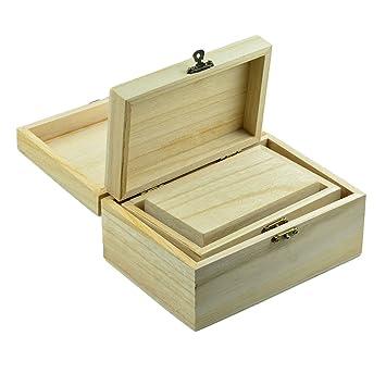 2x Holz Schatzkiste Holzkästchen Holzkiste Holztruhe mit Deckel