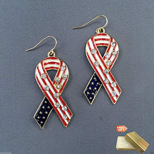 (American Flag Gold Red White Blue Rhinestone Ribbon Pride Drop Dangle Earrings For Women Set + Gold Cotton Filled Gift Box)