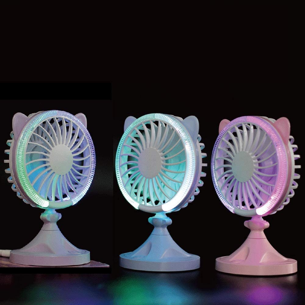 Color : Blue, Size : One Size Mini USB Table Desk Personal Fan Handheld Fan Cat Shape Built-in LED Atmosphere Light for Home Office Metal Design Quiet Operation USB Cable Fan