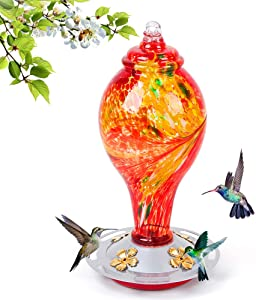 Hummingbird Feeders for Outdoors, 36 Ounces Nectar Red Bird Feeder, 8 Feeding Stations, Hand Blown Glass Hummingbird Feeders for Outside Hanging Garden Yard Decoration, Including S Hook and Ant Moat.