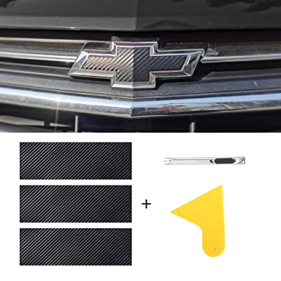 "MICOOS Compatible with Carbon Fiber Vinyl Wrap 11.8"" x 4"" Chevy Bowtie Emblem Wrap Kit with Spatula and Cutter 3 Pcs Universal Logo Overlay: Automotive"