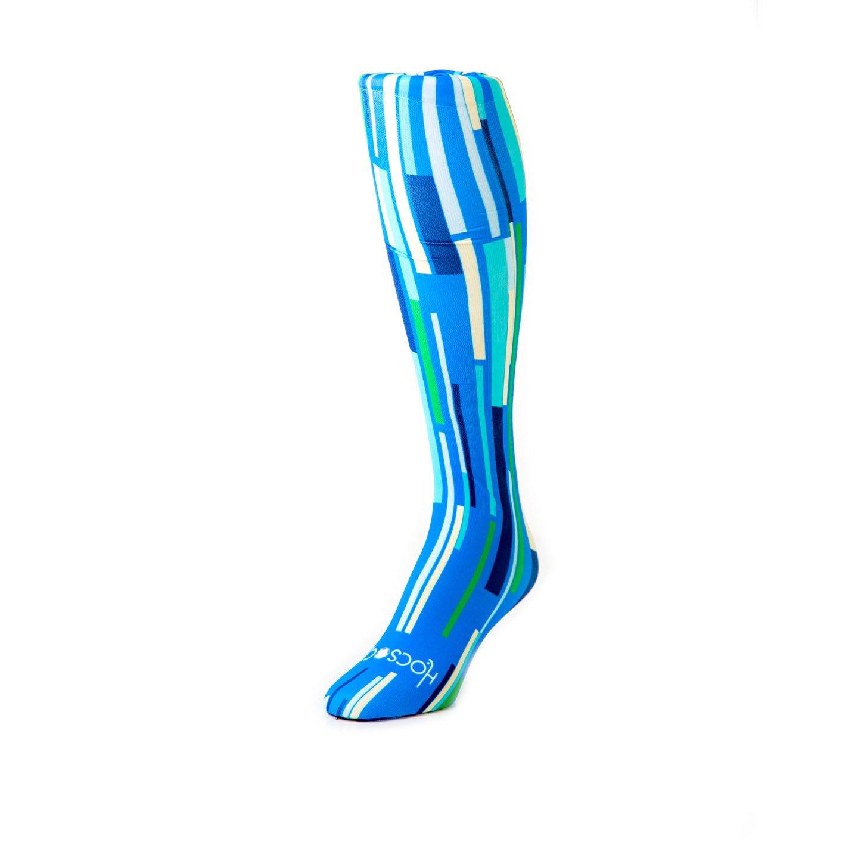 Hocsocx Stripes Performance Rash Guard Under Socks - 3 Styles/Women's (Blue vertical)