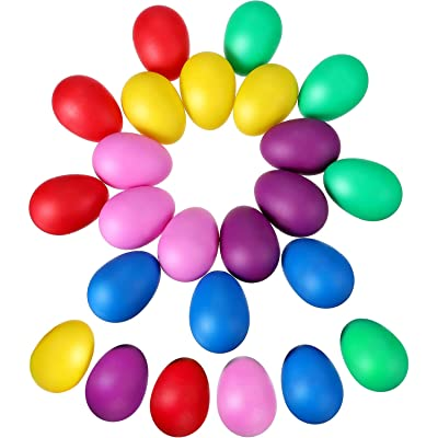 Sumind 24 Pieces Egg Shaker Set Easter Eggs Maracas Eggs Musical Eggs Plastic Eggs for Easter Party Favours Party Supplies Musical Toys, 6 Colors: Musical Instruments