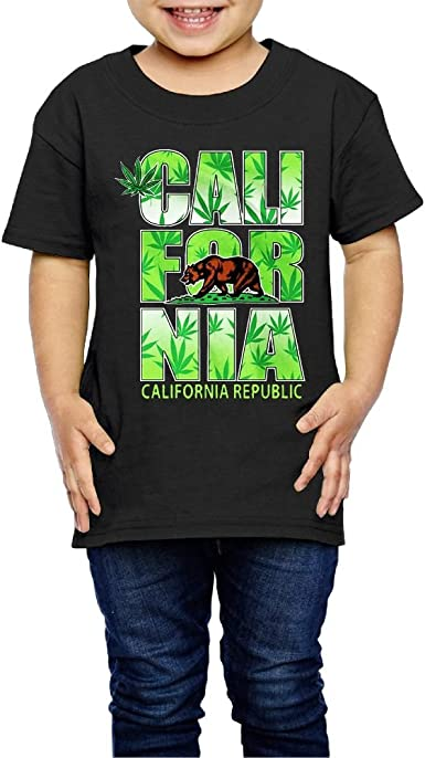 Shanala California Weed Leaf Age 2-6 Childs T Shirts for Girls Boys Black