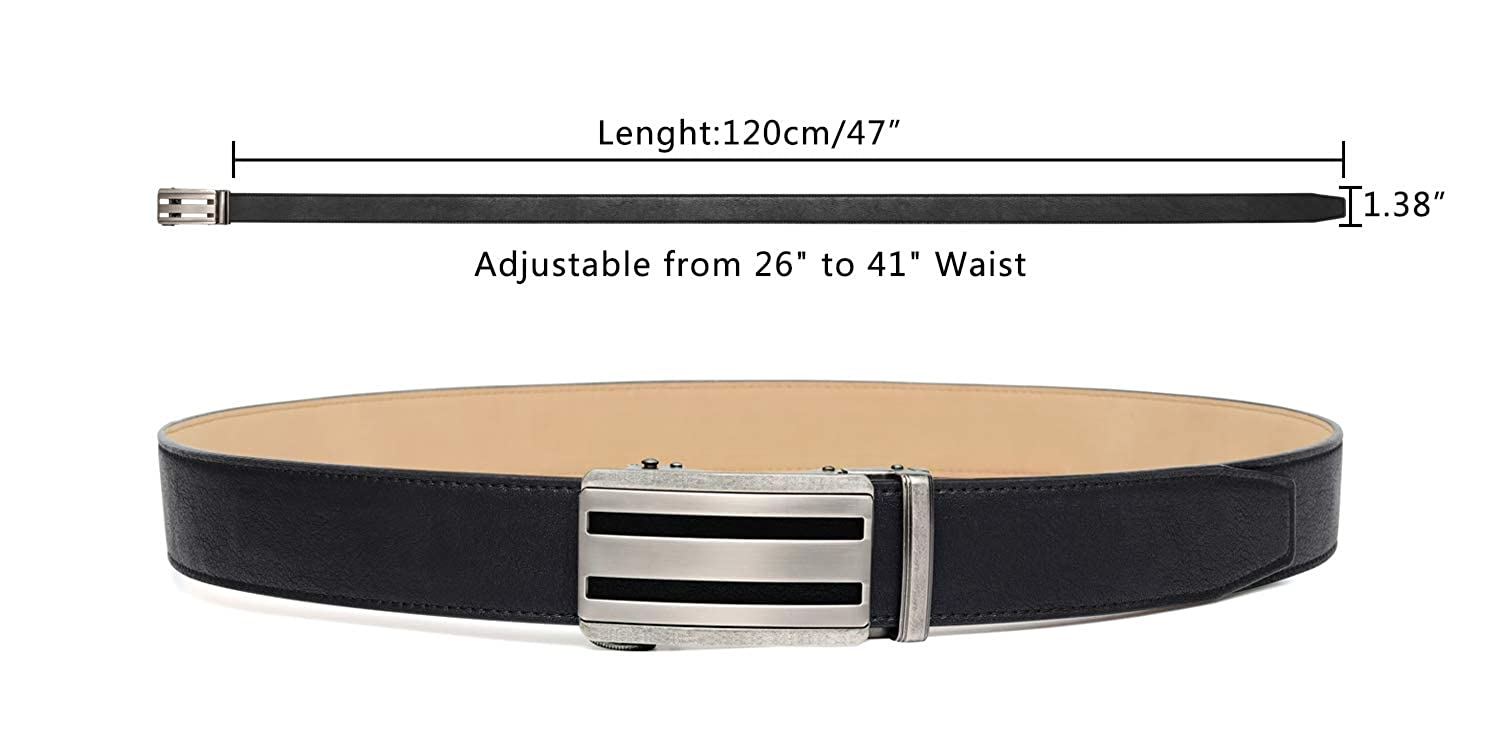 Mens Leather Ratchet Dress Belt Automatic Buckle Wide 1 3//8,Trim to Fit,Gift Box Belt for Men