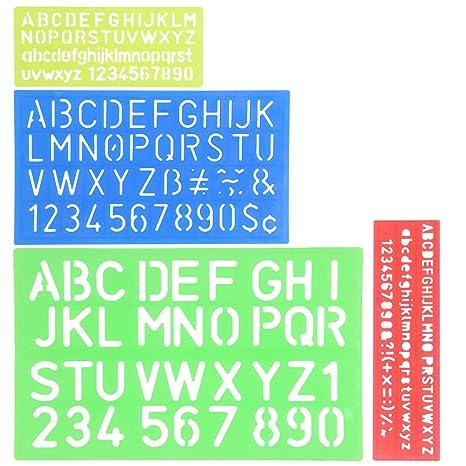 48484b982f YOTINO Stencil Lettere 4 Pezzi Normografo Stencil di Alfabeto per Scrivere  Disegno e DIY per Bambini