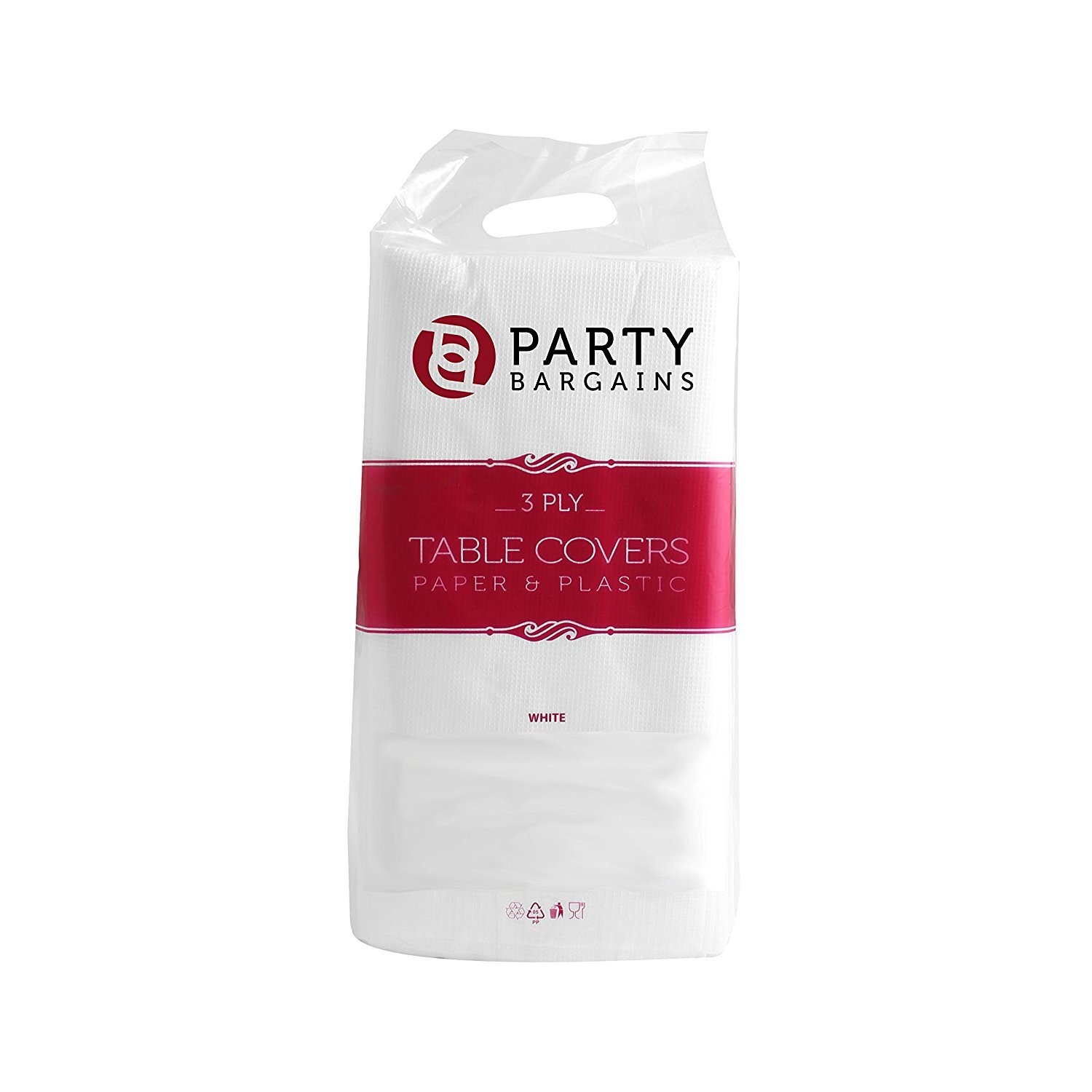 Party Bargains Disposable Table Cover | Classic White Paper 3 Ply Premium & Elegant Plastic Table Covers - Size 54'' X 108'' | Pack of 5 by Party Bargains (Image #4)