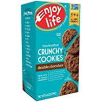 Enjoy Life Crunchy Cookies, Soy free, Nut free, Gluten free, Dairy free, Non GMO, Vegan, Double Chocolate, 1 Box