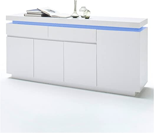 Ocean Commode Buffet Brillant Mdf Laqué Blanc Armoire Et