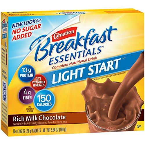 Carnation Breakfast Essentials Ligh Start Powder Drink Mix, Rich Milk Chocolate, 8-count Box