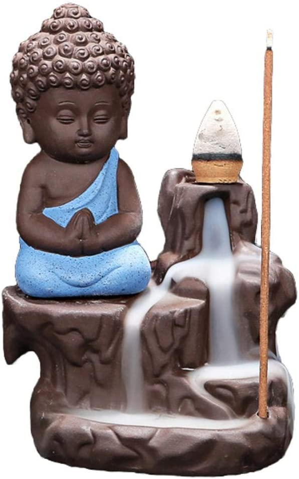 Stick Incense Burner Holder Ceramic Backflow Incense Burner with 10pcs Incense Cones Blue Little Monk Incense Burner Waterfall