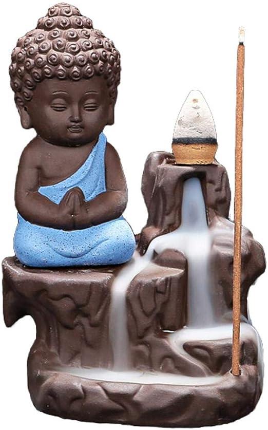 Lotus Leaf Backflow Incense Holder Ceramic Handcrafted Backflow Incense Burner with 10PCS Incense Cones for Home Decor Yoga