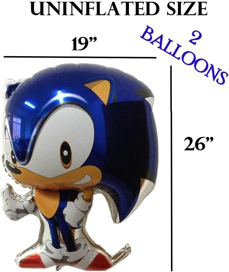 2 Hedgehog SuperSize balloons plus 10 Temporary Tattoos for birthday party supplies decorations favors