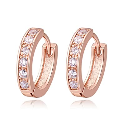 9b7d219e7 Crystalline Azuria Women 18 ct Rose Gold Plated Round White Crystals from  Swarovski Small Huggies Hoops Earrings: Amazon.co.uk: Jewellery