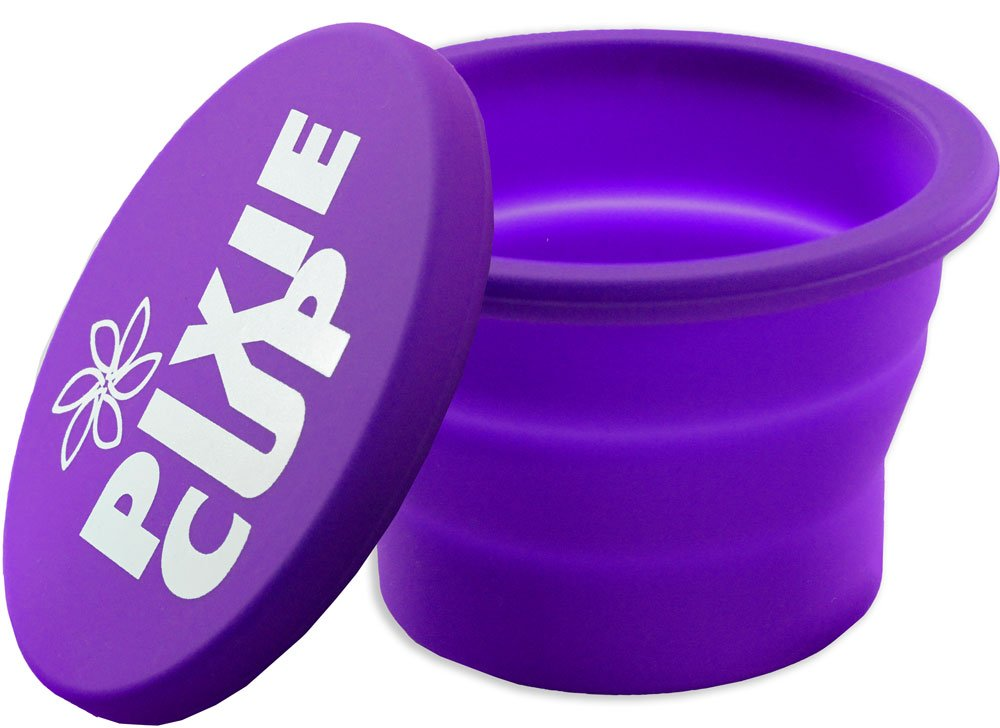 Collapsible Silicone Cup for Sterilizing Menstrual Cups and Storing Your Diva Cup - Foldable for Travel (Purple)