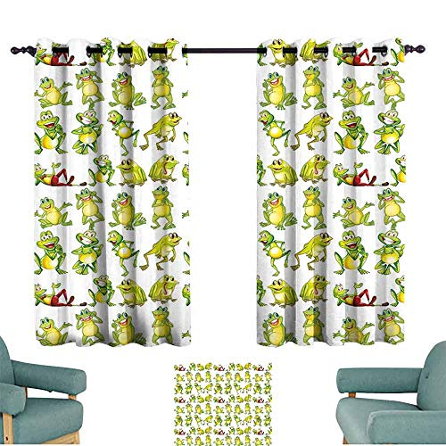 Warm Curtain Nursery Frogs in Different Positions Funny Happy Cute Expressions Faces Toads Cartoon Children's Bedroom Curtain W55 xL45 Green Yellow -