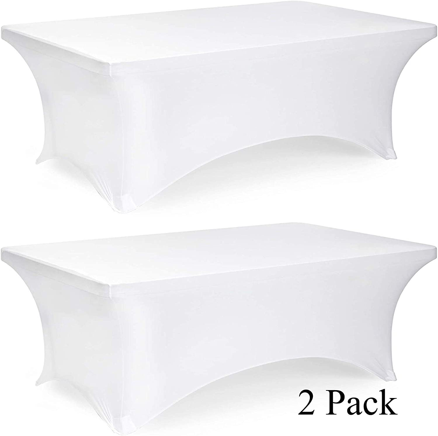 6ft Rectangle Stretch Tablecloth - Tight Fitted Spandex Rectangular Table Cover for 6 Feet Folding Table (White, 2 Pack)