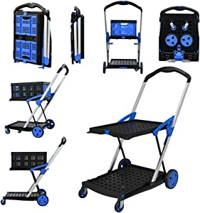 BYKCO Utility Cart,Multi Use Functional Collapsible Carts with Shopping Basket, Double Layer Platform with Stiffener Bar Hand Truck Handle 200lbs, Foldable Portable in Trunk Travel Food Delivery