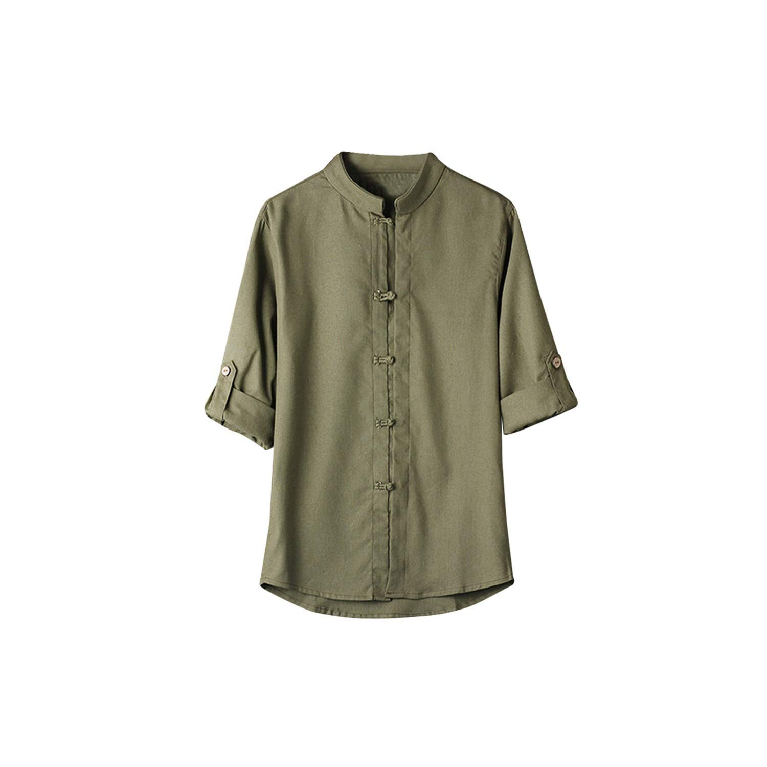 Men Shirt Classic Chinese Style Kung Fu Shirt Tops Tang Suit 3//4 Sleeve Linen Blouse