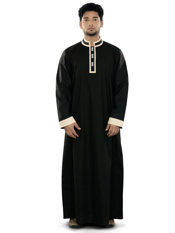 MyBatua Men's Aatif Black Galabiyya Thobe Daffah Thawb Islamic Dishdash Kurta (XX-Large)