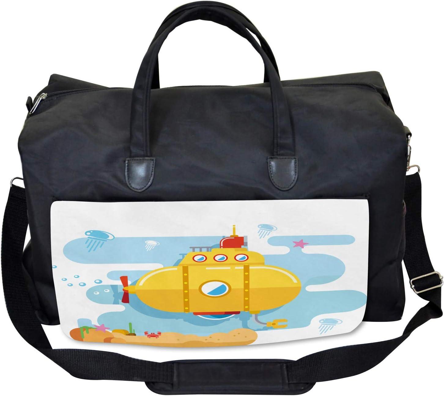 Ambesonne Yellow Submarine Gym Bag Large Weekender Carry-on Crab Starfish