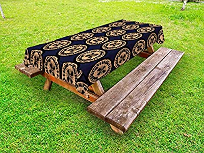 Ambesonne Summer Orange Outdoor Tablecloth, Rhythmic Motifs of Fresh Juicy Fruits Slices Tasty Pattern, Decorative Washable Picnic Table Cloth