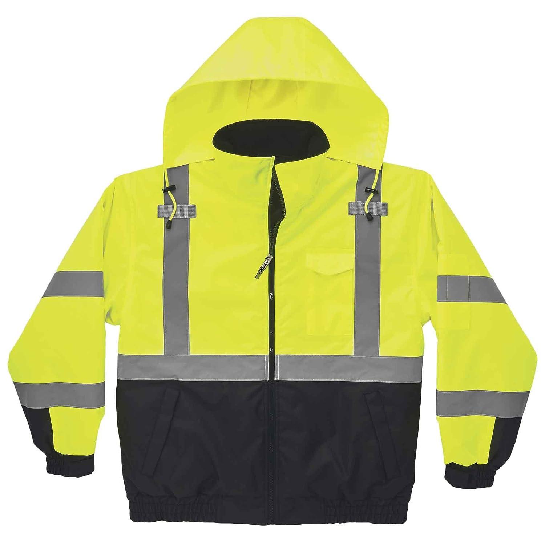 X-Large GloWear 8377 ANSI Black Bottom High Visibility Lime Thermal Bomber Jacket