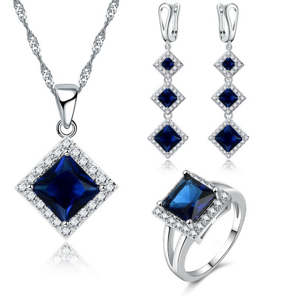Ring Size 9 JEMMIN Wedding Jewelry Sets Square Princess Cut AAA Zircon Necklace Earrings Ring