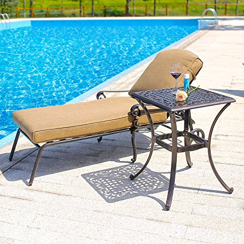 Domi Outdoor Living 2 Piece Chaise Lounge Set with Chaise Lounge Chair and 22-Inch End Table (1 Lounge 2)