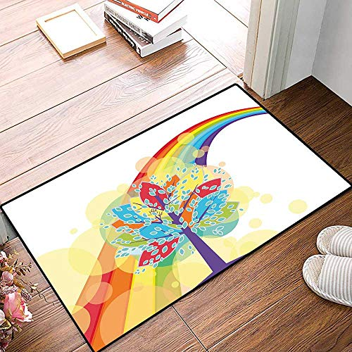 Rainbow Door Mat Small Rug Colorful Tree with Vivid Giant Leaves and Rainbow Backdrop Natural Life Imagination Bath Mat for Bathroom Mat 16