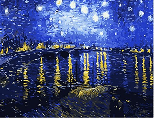 Wowdecor Paint by Numbers Kits for Adults Kids, DIY Number Painting - Starry Night on the Rhone River by Van Gogh 40 x 50 cm - New Stamped Canvas (With Framed) -