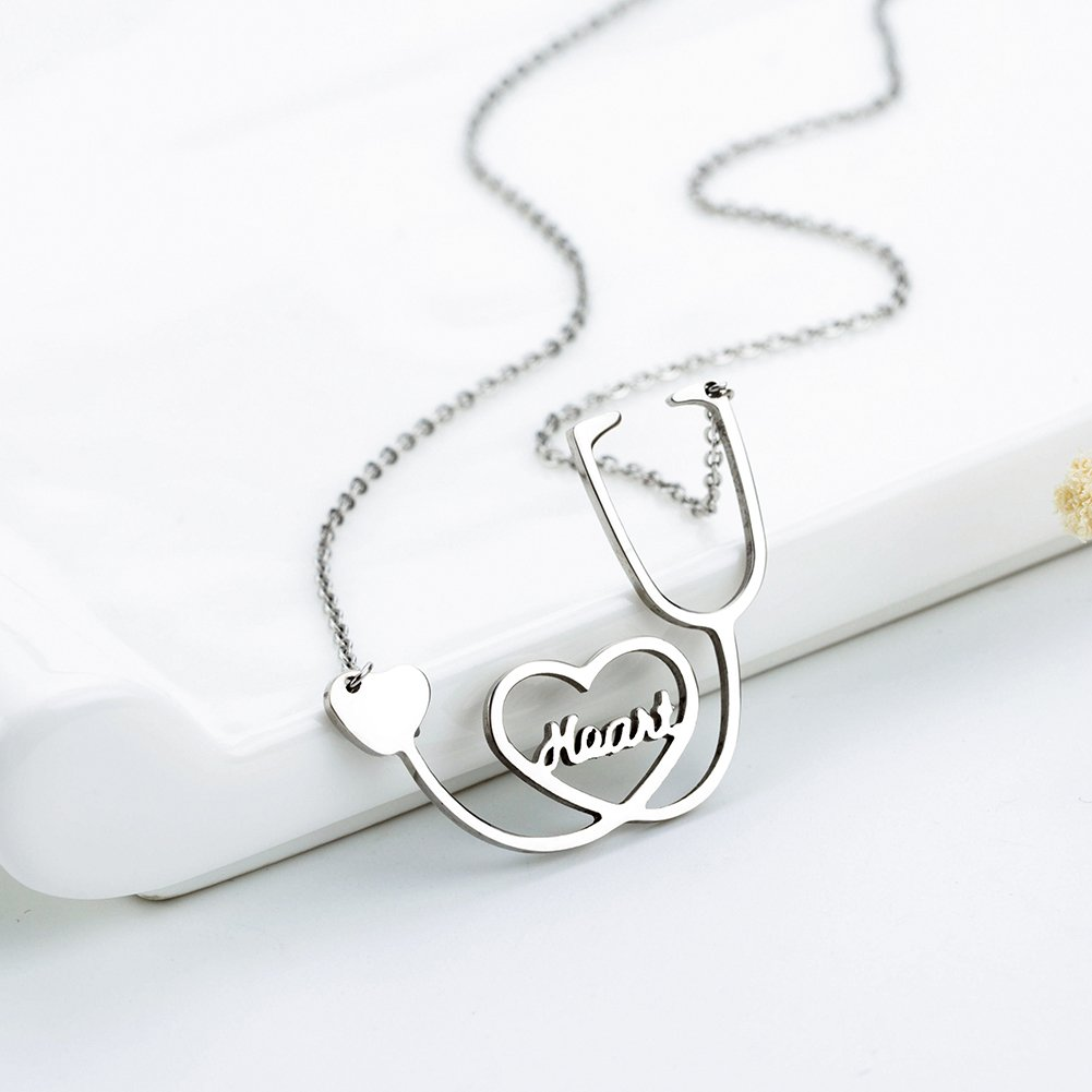 Medical Stethoscope Chain Necklace Stainless Steel Nurse Doctor Medical Stethoscope Jewelry Female Heart I Love You (Sliver)