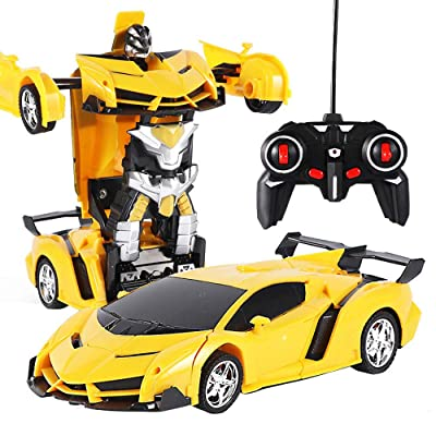 Remote Control car,Elevin(TM)???????? 1:18 Electric Remote Control Car1 Button Remote Control Deformable Vehicle Robot (Yellow): Toys & Games
