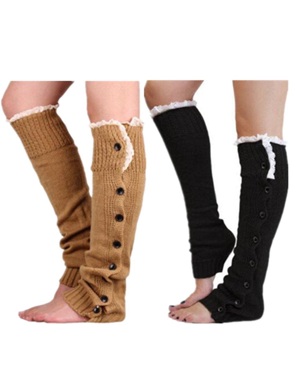 Xugq66 2 Pairs Women Winter Crochet Knitted Lace Leg Warmers Socks Long Boot Cover (Black + Khaki)