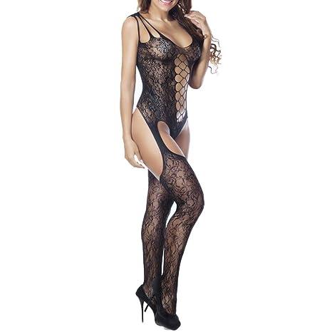 Ropa interior, YanHoo Lencería sexy de mujer Mallas sin entrepierna floral Babydoll Bodysuits Bodywear Ropa