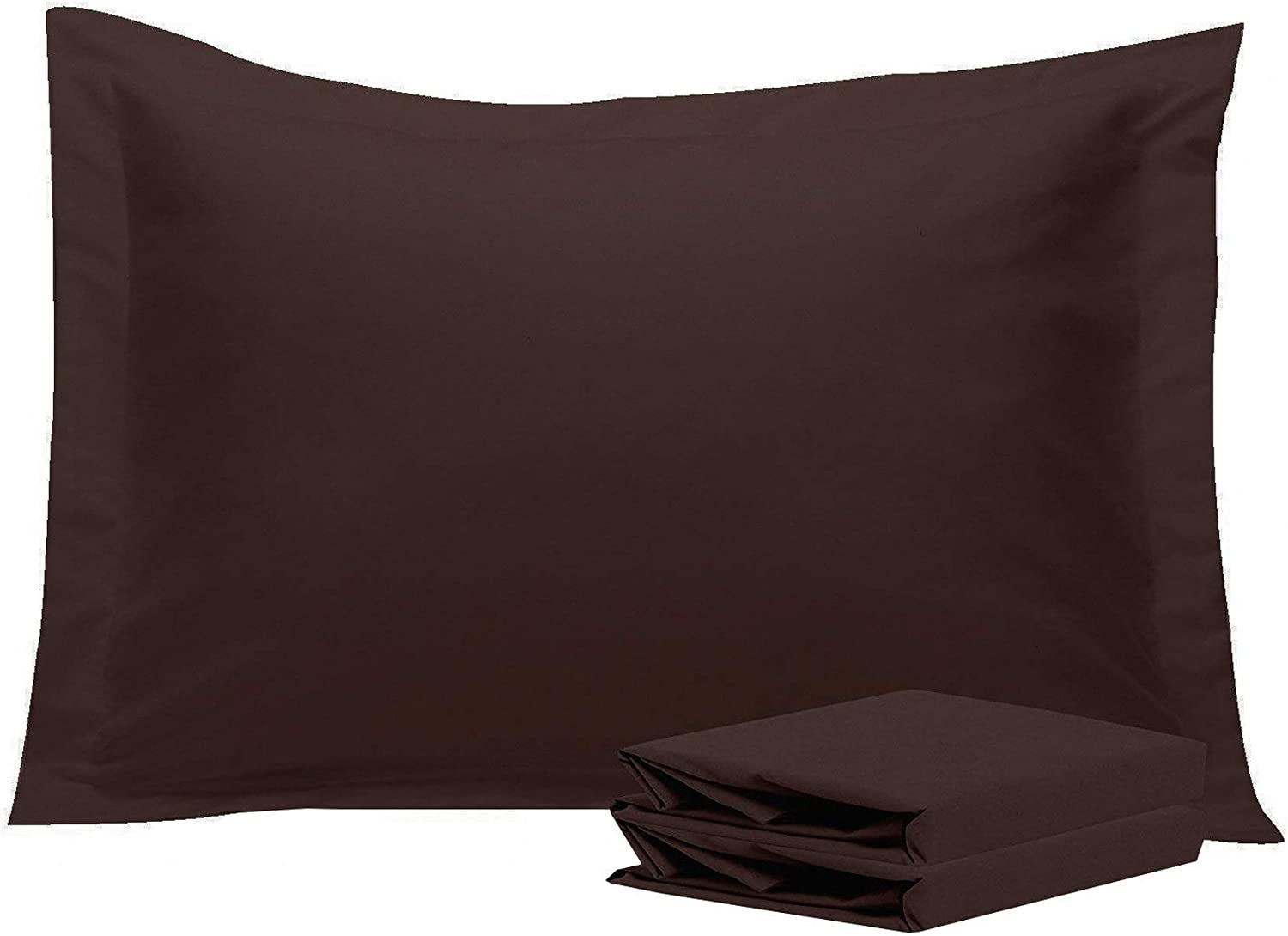 NTBAY Standard Pillow Shams, Set of 2, 100% Brushed Microfiber, Soft and Cozy, Wrinkle, Fade, Stain Resistant (Standard, Dark Brown)