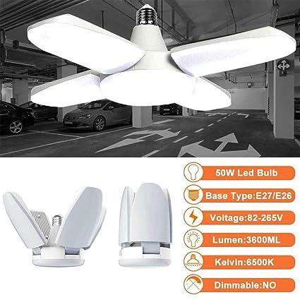 Goglor Lumière de Garage de LED, 50W E26 E27 6500K 3600 lumens Déformable Plafonnier de Garage à LED avec 4 Ajustable Panneaux, Super Brillant Lumière du Jour Ampoules pour Garage, Entrepôt