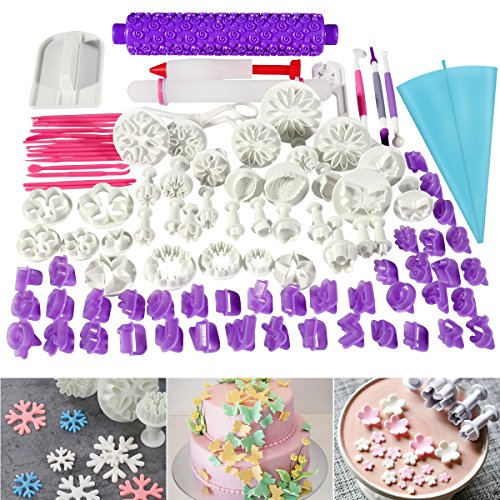 BESTOMZ 94pcs Fondant Cake Cutter Cookie Bakeware Icing Decoration Kit with Flower Modelling Mold Mould Fondant Tools - Snowflake Icing Decorations