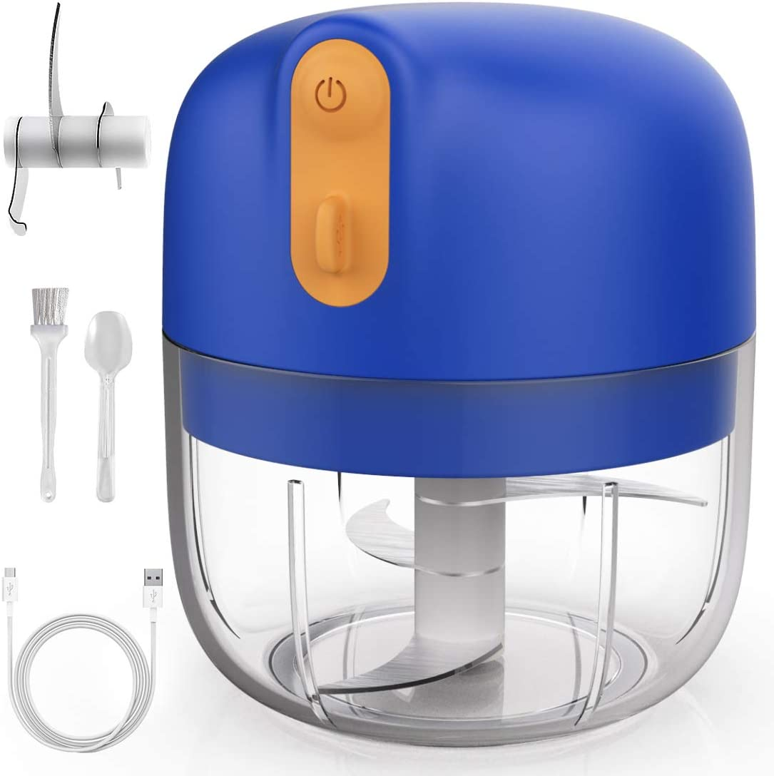 Electric Mini Garlic Chopper, KALUSI Wireless Food Slicer And Chopper Food Processor Rechargeable Mincer Masher Blender For Fruits Onions Pepper Chili Vegetable Ginger Spice Salad (250ML, Sky Blue)