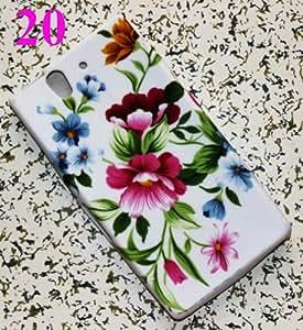 CHSH Carcasa blando de TPU Silicona Cover para Sony Ericsson Xperia Z L36h peonía flor NO.20