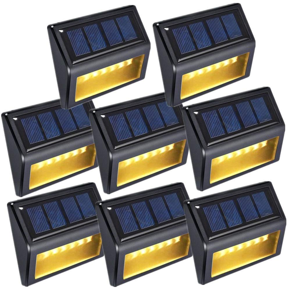 Solar Deck Lights -OKEER New Upgrade 6 LED Outdoor Solar Sensor Lights for Yard Garden Stairs Park Fence Stair with Auto On/Off(Pack 8,Warm Yellow Light)
