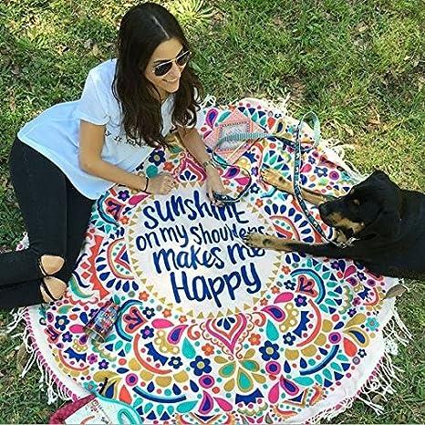 Enjoy Live redondo Mandala tapiz indio colgar en la pared toalla de playa esterilla de yoga