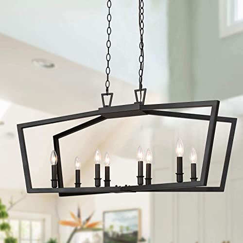 KSANA Black Chandelier, Modern 8 Lights Metal Light Fixture for Dining Room and Kitchen Island