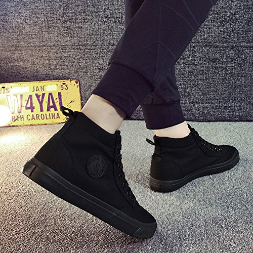 Aisun Heren Casual Ronde Neus Hoge Top Sportief Lace Up Platte Sneakers Canvas Schoenen Zwart 2