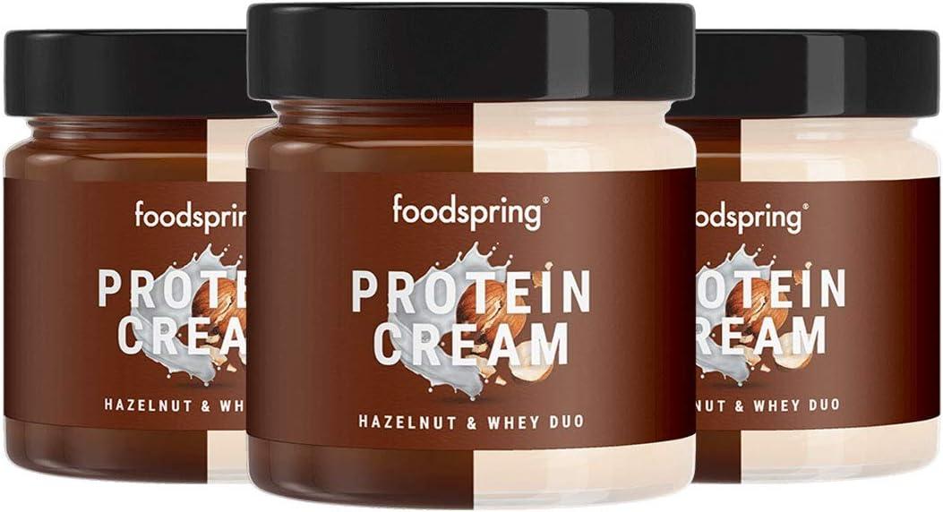 foodspring Crema Proteica, Whey y Avellanas, Pack de 3 x 200g, Extremadamente cremosa, Con 85% menos de azúcar