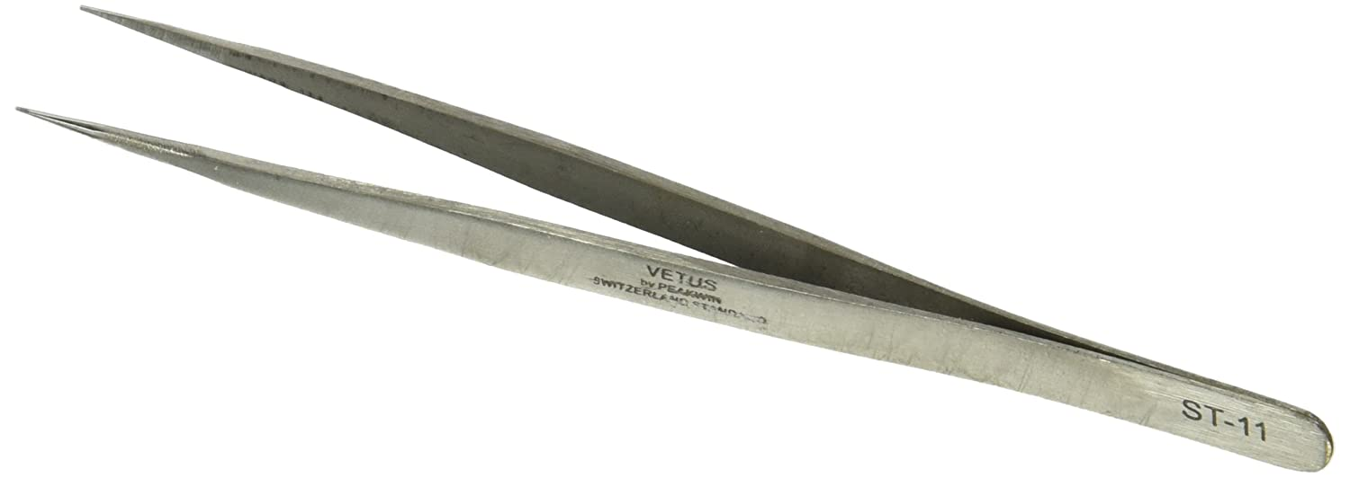 Uxcell Silver Tone Stainless Steel Extra Fine Pointed Tweezers 5.4
