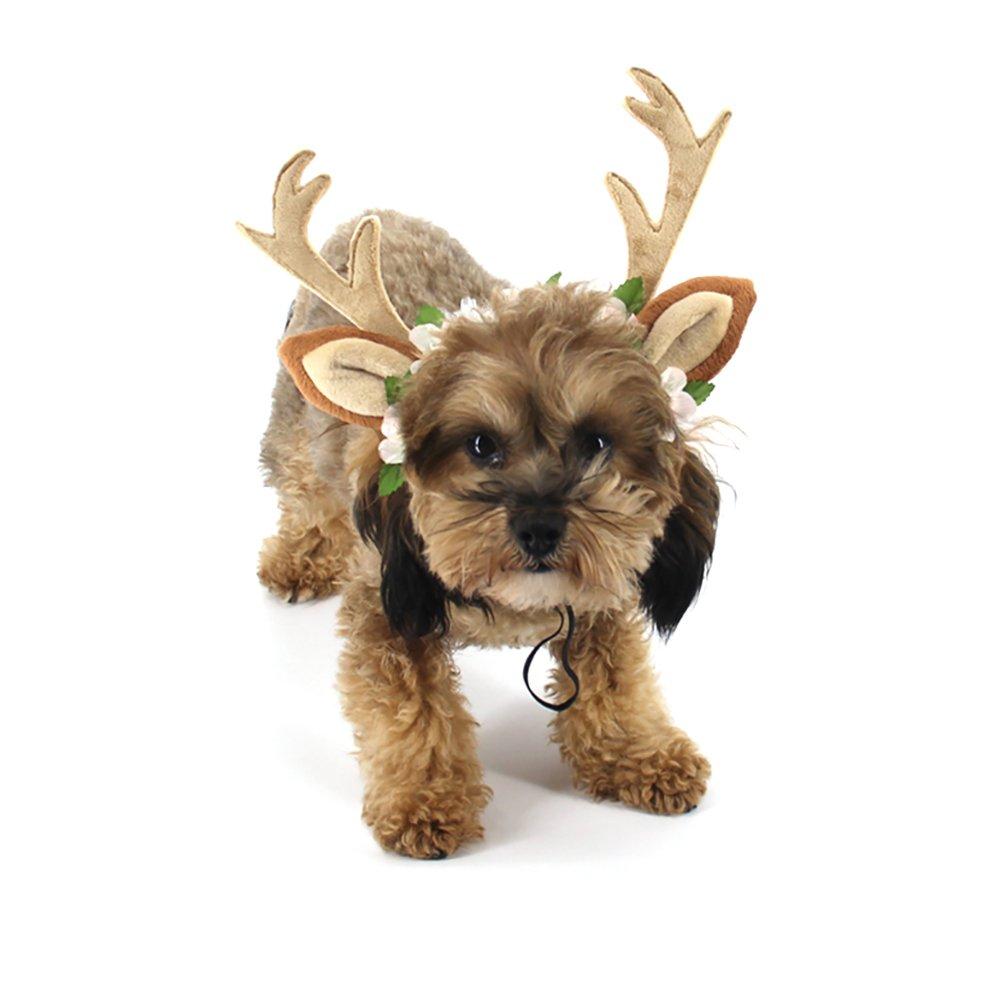 Pevor Pet Christmas Antlers Hat Cap Halloween Christmas Holiday Cosplay Reindeer Head Hoop Hair Accessories for Dogs Cats Elk Antlers Horn Shape Hair Hoop with Silk Flower Decor