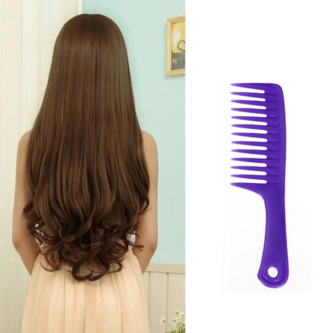 Baomabao Wet Haircut Hair Comb Hairdressing Plastic Handle Wide-tooth Comb (purple)