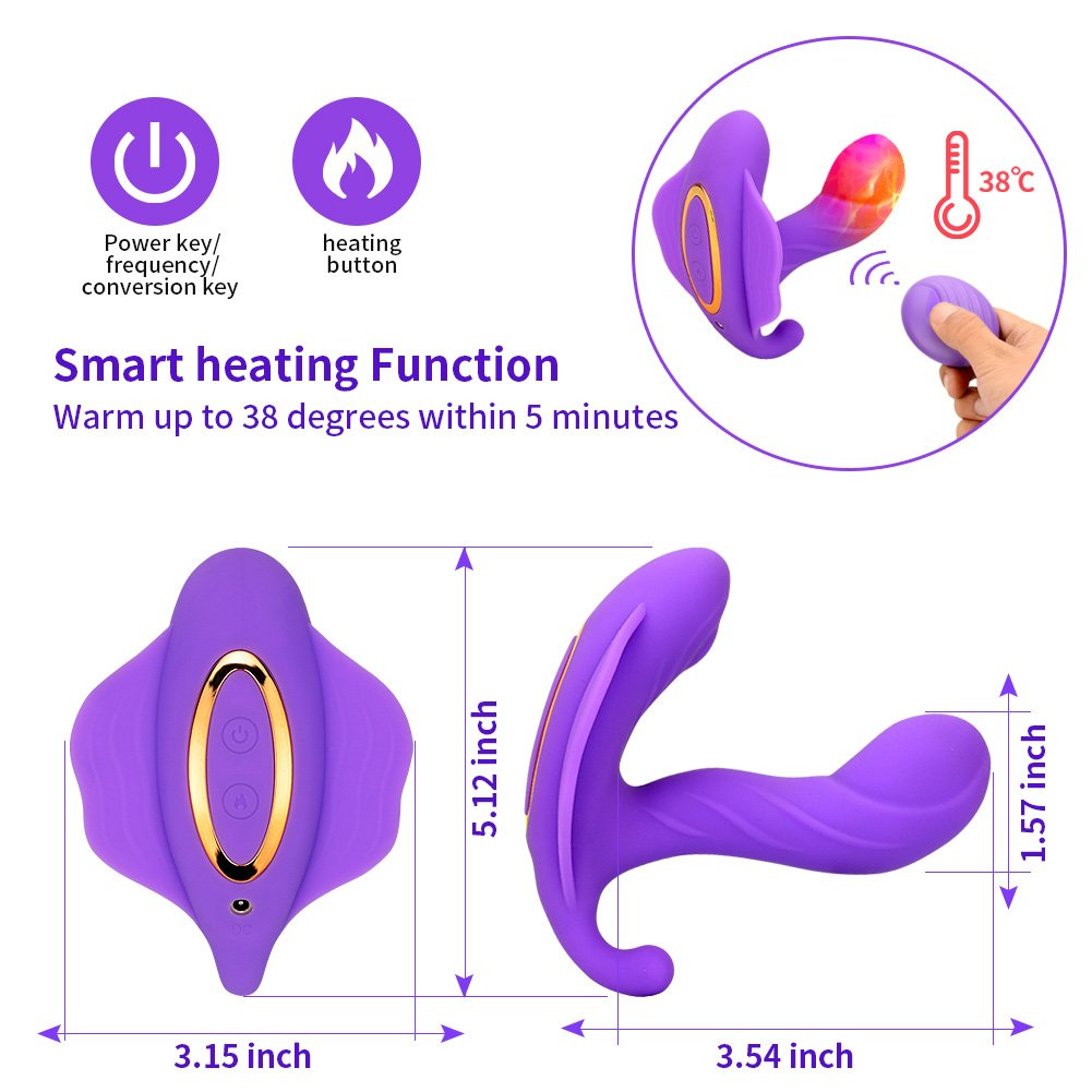 Wearable Female Sex Toys Vibrators with Wireless Remote Control Clitoral G spot Butterfly Massager Vibrating Panties Smart Heating 10 Kinds Vibration Flirting Dildo Vibrator for Women and Couples