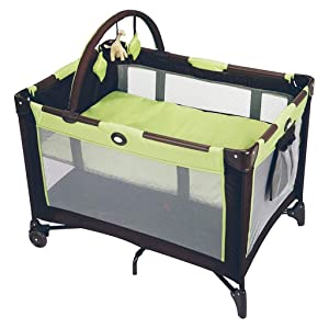 Balance Bouncer Cradle Rocking Bassinet Portable Travel Sleeper Bed Side Bassinet W/Carrying Bag Breathable Mesh Newborn Baby Sleeping Artifact (Color : Green)